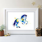 HORSE IN MOTION WATERCOLOR PAINTING ORIGINAL PRINT BY ARTIST NURSERY ART NEW