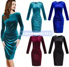 Women's Long Sleeve Velvet Bodycon Casual Evening Party Cocktail Pencil Dress