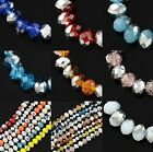 100 pcs RONDELLE FACETED GLASS CRYSTAL BEADS 6 mm HALF SILVER Jewellery Making