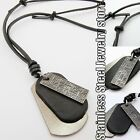 Army Style Black Dog Tags Mens Genuine Leather Necklace Charm Pendant Choker