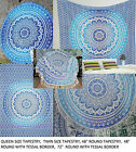 Assorted Blue Ombre Queen Single Round Mandala Table Cloth Beach Throw Tapestry