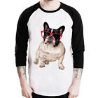 Glasses French Bulldog animal dog unisex Baseball t-shirt 3/4 sleeve Raglan