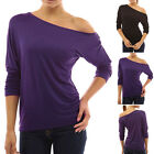 Womens One Shoulder Batwing 3/4 Sleeve Ruched Top Casual Tops Blouses Shirts New