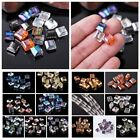10/30Pcs Flat Square Cube Faceted Crystal Glass Loose Spacer Beads Craft Finding
