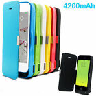 For iPhone 5 5s 5c UKRechargeable 4200mah Power Bank battery Charger Flip case