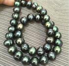 """18"""" Elegant AAA  10-11mm baroque South sea Black green Pearl Necklace 14K Clasp"""