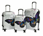 Luggage Suitcase Hard Shell Lightweight 4 Wheel Spinner ABS White Butterfly BAGS