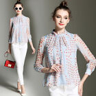 Autumn/Winter Fashion Womens Shirt Office Ladies Long Sleeve Printed Tops Blouse