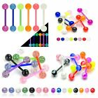FLEXI Acrylic Ball Tongue Bar No Metal Body Piercing Jewellery UK SELLER