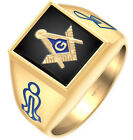 Customizable Solid Back 10k 14k Gold Masonic Blue Lodge Ring Free Watch included