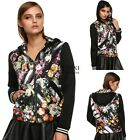 Women Ladies Fashion Floral Patchwork Hooded Spring Autumn Jacket Casual TXSU