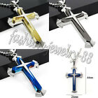 Fashion Mens Women Stainless Steel Necklace Crucifix Cross Pendant Chain Jewelry