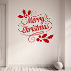 Merry Christmas with Holly Design Vinyl Wall Art Sticker Decal