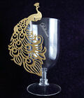12cm PEACOCKS GOLD METALLIC PEARL-  Glass Place Name Cards Die Cut Christmas UK