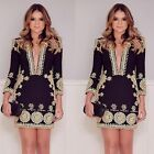 New Sexy Women Deep V Neck Long Sleeve Party Dress Evening Cocktail Casual Dress
