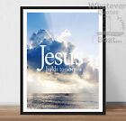 Jesus Holds Tomorrow - Christ Quote Bible - Print Poster Christianity + Frame