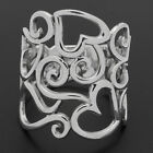 925 Sterling Silver Entwined Open Hearts Wide Long Ring size 6 7 8 9 10