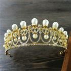 Vintage Wedding Bridal Crystal Pearl Gold Silver Queen Crown Tiara Headband Prom