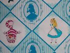 Disney Alice in Wonderland Fabric Cheshire Cat Mad Hatter Camelot Cotton Blue