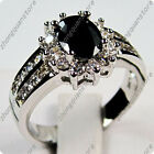 Oval Black Sapphire Zircon Wedding Engagement Ring Silver Plated Jewelry Sz 5-12