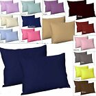 2 x PILLOW CASES. Pair of  Poly cotton Plain dyed vibrant Pillow Cover Housewife