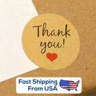 USA: Kraft Paper 'Thank You!' Stickers with Heart,  round seal  3