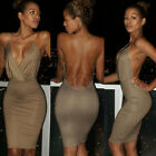 New Womens Deep V-Neck Bandage Backless Party Evening Bodycon Mini Pencil Dress