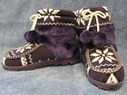 Womens Cosy Knitted Fairisle Slipper Boots Fleece Lining Faux Fur - Thick Sole