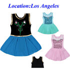 Girls Sequin Ballet Dance Dress 3-12Y Gymnastic Leotard Skate Chiffon Tutu Skirt