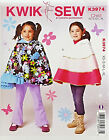 KWIK SEW PATTERN PONCHO WITH HOOD 2 STYLES GIRLS' SIZE XS-XL # K3974