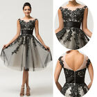 UK New Formal Evening Gown Party Cocktail Ball Prom Bridesmaid Dress BLACK&WHITE