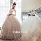 Lace Applique Ball Gown Wedding Dress Beads Crystal V-Neck Long Train Custom New