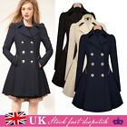WOMENS Ladies Lapel Stylish Long Parka Coat Trench Outwear Jacket 8-16