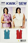 KWIK SEW PATTERN BLOUSE FITTED SLEEVELESS WOMEN'S SIZE 1X-2X-3X-4X # 3865