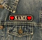 PERSONALISED 1 LINE HEARTS NAME TAG EMBROIDERED PATCH BIKER BADGE BAG JACKET