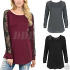 NEW Women Long Sleeve Shirt Casual Lace Blouse Loose Cotton Tops T Shirt