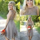 Gray Lace Chiffon Short Bridesmaid Cocktail Dresses Maid of Honor Gowns WD019
