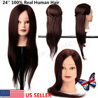 22'' 100% Real Human Hair Training Head Practice Mannequin Hairdressing Clamp US