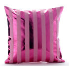 Pink Metallic Stripes 12x12 Faux Leather Pillows Covers For Couch - Born 2 Party