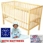BABY COT WOODEN  BED  naturall PINE + Option MATTRESS SELECTION   NEW