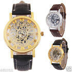 Fashion Men's Roman Mechanical Skeleton Dial Leather Band Military Wrist Watches