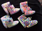 LADIES LILAC PINK BLUE PURPLE BOOT SLIPPERS SIZES 3/4 5/6 7/8 NEW