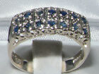 English 925 Sterling Silver Natural Sapphire Victorian Style Wide Eternity Ring