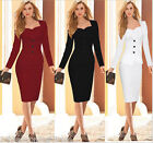 New Women Long Sleeve Autumn Winter Office Dress Slim Bodycon Pencil Work Dress