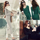 New Womens Long Sleeve Stretch Bodycon Ladies Plain Long Mini Dress Round Neck ❤