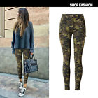 UK Womens Celeb Camouflage Stretch Pocket Zipper Trousers Denim Pants Jeans 6-18