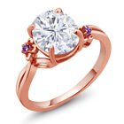 2.76 Ct Oval White Created Moissanite Purple Amethyst 18K Rose Gold Ring