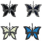 Natural Diamond Enamel Butterfly Charm Pendant Sterling Silver Handmade Jewelry
