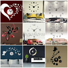 Modern Wall Clock 3D Mirror Surface Sticker Removable Home Office Room Decor DIY