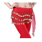 New Red Fashion Chiffon Belly Dance Hip Scarf Wrap 3 Rows Gold Coin Belt Skirts